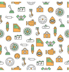 thin line art car parts seamless pattern vector image