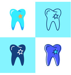 Tooth with hole icon set in flat and line style vector