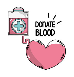 Transfusion tool donation with heart symbol vector
