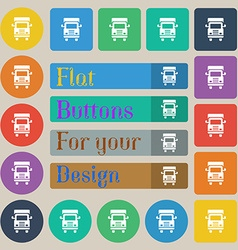 Transport truck icon sign Set of twenty colored vector image