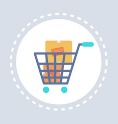 trolley cart with cardboard boxes shopping icon vector image