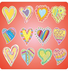 Twelve colored hearts vector image