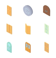 Types of doors icons set cartoon style vector