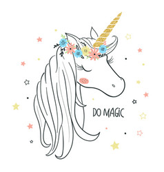 unicorn head for kids vector image