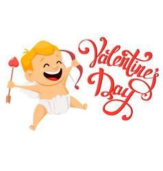 valentines day greeting card with cute cupid and vector image