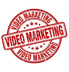 Video marketing red grunge stamp vector