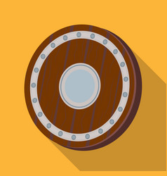 Viking shield icon in flate style isolated on vector