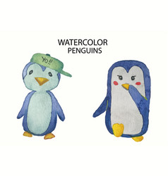 watercolor collection of cute hand drawn penguins vector image