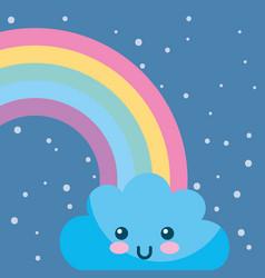 weather rainbow cloud kawaii cartoon vector image