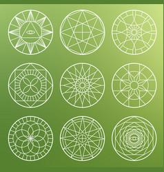 white esoteric geometric pentagrams spiritual vector image