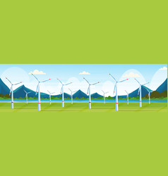 wind turbines field clean alternative energy vector image