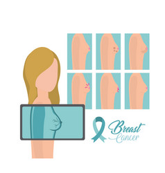 woman breast cancer prevention diagnosis vector image