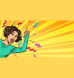 Woman pointing finger vector