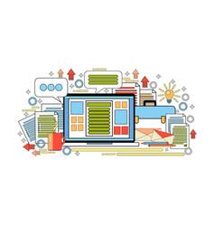 workplace computer desktop office worker desk vector image