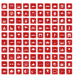 100 view icons set grunge red vector image vector image