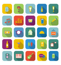Bar color icons with long shadow vector