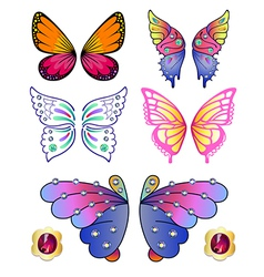 Butterfly colored gem wings 02 vector image vector image