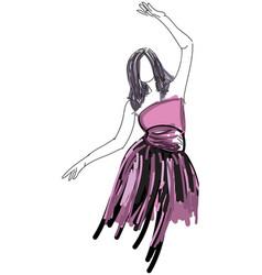 Drawn dancing woman in evening dress vector