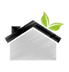 Eco house with leafs isolated icon vector