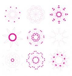 floral and ornamental elements set vector image