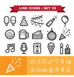 Party line icons set 39 vector