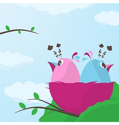 Two cute little birds having a disagreement vector image vector image