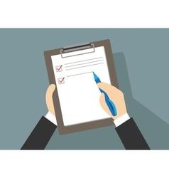 Businessman controls check list vector image