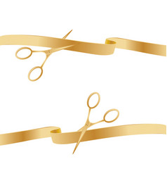 golden scissors cutting ceremony ribbons vector image vector image