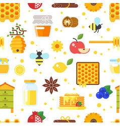 Honey and beekeeping pattern vector
