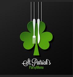 patrick day menu logo design background vector image vector image