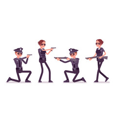 young police officers with guns vector image