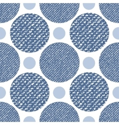 Denim jeans texture seamless pattern with circles vector image vector image
