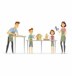 Family making handicrafts - cartoon people vector
