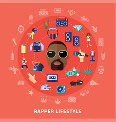 rapper lifestyle round composition vector image
