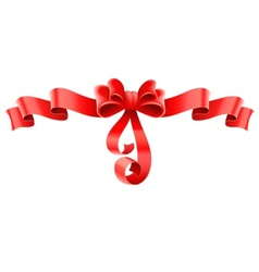 red decorative bow with ribbon vector image vector image