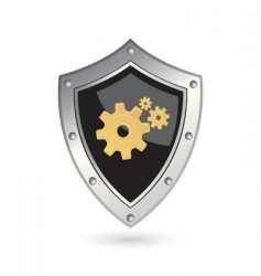 shield with gears vector image vector image