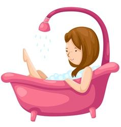 Woman bathing in bathtub vector image
