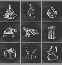 Hand drawn Christmas icons vector image vector image