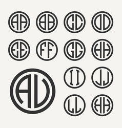 Set 1 of templates from two capital letters vector