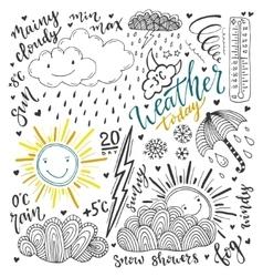 Weather doodles icon set Hand drawn sketch vector image vector image