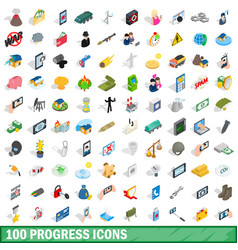 100 progress icons set isometric 3d style vector image