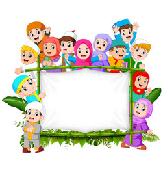 A family are holding jungle woodeen banner vector