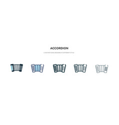 Accordion icon in different style two colored vector