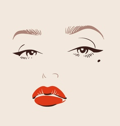 Beautiful woman face with red lips make up vector