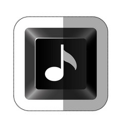 Black button music icon vector