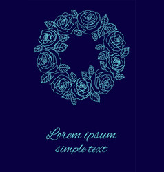 Blue roses wedding invitations wreath on navy vector