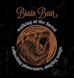 Bruin bear vintage poster vector
