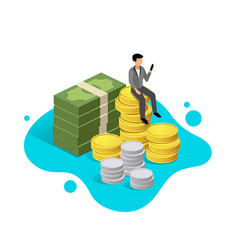 business man sit down on money design vector image
