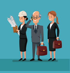 business man with women employee work team labor vector image