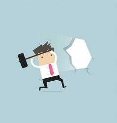 businessman broke through the wall vector image